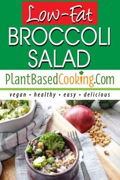 This low-fat broccoli salad is a great alternative to the super fat, sugary, bacon-laden traditional recipe. It's great for an every-day meal or for a crowd. All plant-based goodness. Easy Summer Salads, Summer Salad Recipes, Delicious Vegan Recipes, Vegetarian Recipes, Healthy Recipes, Diet Recipes, Healthy Food To Lose Weight, Healthy Foods To Eat, Greek Quinoa Salad