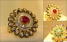 Grand diamond cocktail rings in floral design fused with rubies, emeralds and kundans along with the enamel meenakari work highlighting the design. Jewelry Design Earrings, Gold Rings Jewelry, Hand Jewelry, Gold Jewellery Design, Diamond Jewelry, Gold Necklaces, Diamond Pendant, Diamond Finger Ring, Gold Finger Rings