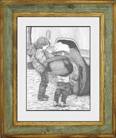 """Bernie Brown """"Boys will be Boys"""" by Back In Time Frames. $37.95. Hand Crafted Barnwood and Oak Frame. Print Artwork by Bernie Brown. All Barnwood frames are different. No two are alike. Products will vary from picture. Two young boys peeing on a truck tire Mounted on a Light Gray Blackcore Mat, and placed in a hand made Barnwood and Oak 8 X 10 picture frame."""