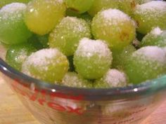 Grapes marinated in wine, rolled in sugar and frozen