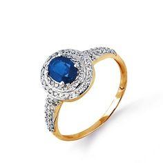 Кольцо из красного золота с белыми бриллиантами и сапфиром