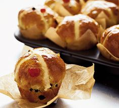 Hot cross muffin buns. Try this light and spicy version of everyone's favourite Easter treat