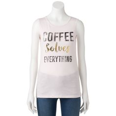 "Juniors' ""Coffee Solves Everything"" Muscle Graphic Tank, Purple"