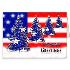seasons greetings patriotic flag and trees greeting card - Patriotic Christmas Cards