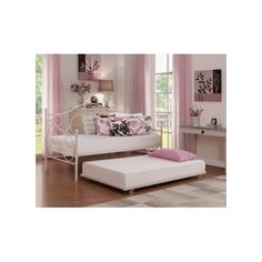 Daybed Trundle Frame Metal Furniture White Guest Day Bed Home Bedroom Kids Sleep