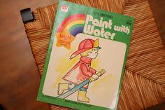diy paint, water painting kids, children, childhood memori, paints, basements, kid craft, coloring books, old books
