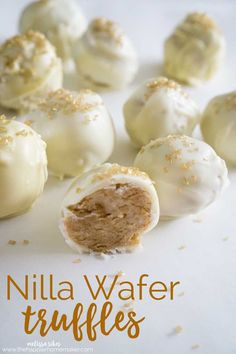 Truffles Nilla Wafer truffles are easy to make and need only three ingredients! Perfect for gifting!Nilla Wafer truffles are easy to make and need only three ingredients! Perfect for gifting! Candy Recipes, Sweet Recipes, Baking Recipes, Dessert Recipes, Holiday Desserts, Easy Desserts, Delicious Desserts, Yummy Food, Healthy Desserts