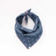 MARIGOLD. Dog bandana or baby bib in washed indigo denim chambray, cream floral print, and pink trim.