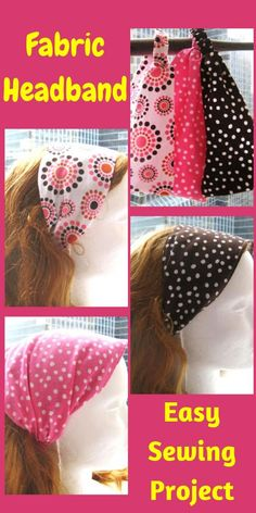 Try this easy sewing project, a bandana style cloth headband that can be made from fabric scraps. #easysewingproject, #headbandsewing, #sewingpattern