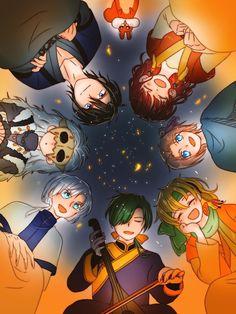 The happy hungry bunch having fun. Love them, so cute. Akatsuki no Yona