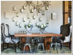 Historic loft, but gorgeous dining room... love the echoes of silver