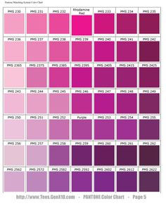 Pantone Color Chart Pms Screen Printing Rose Violette Magenta Wedding Purple
