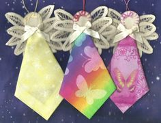 hanky crafts for christmas | 12 Angels Handmade Embroidery Butterfly Fabric Battenburg Ornaments ...
