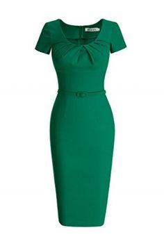 7768c3a7d0ec09 MUXXN Dresses - MUXXN Women's 1950s Vintage Short Sleeve Pleated Pencil  Dress