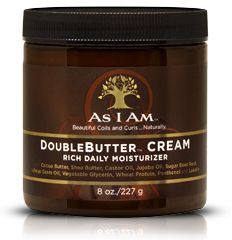 PRODUCT REVIEW: Moisture is essential for great natural coils and curls. When your hair feels a bit rough and dry, and looks that way too, this is the jar to reach for. The power-packed As I Am DoubleButter® Cream is a rich emollient blend, graced with the finest array of natural butters and organic oils. It gets the job done. Smells great too!