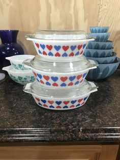 Pyrex blue and white hearts from Denmark ( rare)