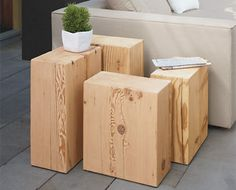 How cool are these? Reclaimed Fir Outdoor End Tables - Oasis Modular Sectional - Outdoor - Room & Board