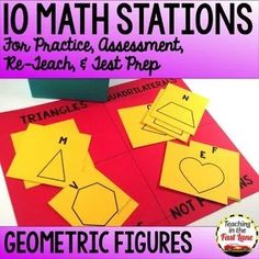 Geometric Figures Stations - This set of 10 math stations all focus on the grade standards for geometric figures. With 10 different centers to practice with your students will be experts in no time flat while playing these partner math games. Instructional Strategies, Teaching Strategies, Math Lesson Plans, Math Lessons, Math Test Games, 4th Grade Math Test, Math Stations, Guided Math, Elementary Math