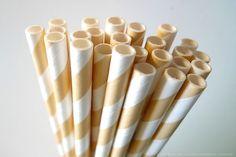 Ivory Striped Paper Straws