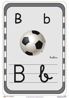 Tarjetas para aprender el abecedario y repasar las letras Working With Children, Soccer Ball, Activities For Kids, Alphabet, Kindergarten, Teaching, Color, Flash, Victor Hugo