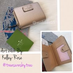 2HR SALE Kate Spade Wellesley Cara Wallet 100% Authentic Kate Spade Cara Wellesley Billfold Color: Rose Gold Leather, signature custom woven fabric lining, snap & Zip closure 1 slip pocket on back, 4 card slots, ID window, 4 slip pockets, & 1 compartment for bills.  Please no trades or PP.  Price Firm kate spade Bags Wallets