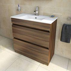 Plan Walnut Floor Mounted 800 Drawer Unit & Inset Basin