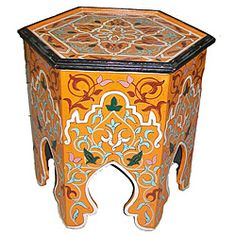 Handpainted Arabesque II Wooden End Table (Morocco) Moroccan Furniture, Indian Furniture, Oriental Furniture, Moroccan Design, Moroccan Decor, Islamic Decor, Wooden Screen, Sofa End Tables, Banquette