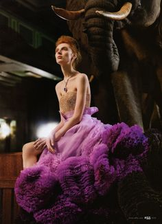 Olga Sherer in 'Theory of Evolution' Photographer: Carter Smith Dress: Givenchy Haute Couture S/S 2010 Elle US May 2010 Givenchy, Gucci, Carter Smith, Reason To Breathe, Theory Of Evolution, Purple Gowns, Purple Tutu, Purple Dress, Elle Us