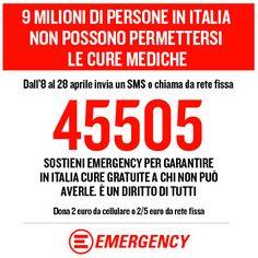 Fino a domenica 28 aprile manda un #SMS da 2 euro o fai una chiamata da rete fissa da 2 o 5 euro al #45505 e sostieni il Programma #Italia di @Linda Bruinenberg Gency info su http://www.emergency.it/45505-sms-solidale/index.html