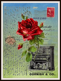 "Vintage Art Print Rose and Piano on Ephemera , Print Wall Decor, 8.5 x 11"" Unframed Printed Art Image"