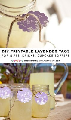 """It's time to party and add fun to your drinks and party favors with  these DIY Printable Lavender Drink Tags or Favor Tags. You will receive a  printable file to print as many lavender tags as you like with the words  """"Enjoy"""" and """"Cheers"""" on them. Can be used as drink tags, favor tags for gifts or even cupcake toppers. From Festive Fetti on etsy."""