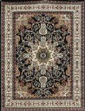 Traditional Isfahan Persian Area Rugs Black x Cheap Large Area Rugs, Area Rug Sets, Machine Made Rugs, Floral Flowers, Decoration, Home Kitchens, Persian, Oriental, Traditional