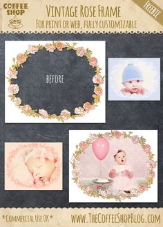 Today I wanted to post a new fully-customizable vintage rose frame with gold trim for print or web. I have the layered psd file for Phot. Scrapbook Designs, My Scrapbook, Free Collage Templates, Photoshop Elements Tutorials, Photoshop Help, Photoshop Photography, Photography Ideas, Rose Frame, Vintage Roses