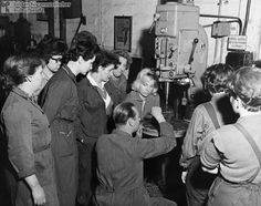 Training Course for Women (1962)- While the GDR's stance reflected an ideology of equality, it was also informed by an acute labor shortage that presented certain economic imperatives. In 1962, women represented 44% of the total labor force in the GDR; in the Federal Republic, they accounted for 33.5%. The photograph features participants in a women's apprenticeship program at the East German State Railways Workshop in Schöneweide (East Berlin). They are shown at a drill station