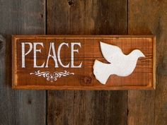 Wood Signs, Peace Sign, Indoor and Outdoor Signs, Rustic Wall Decor, Boho, Cottage Chic, Country Signs    Peace Sign with Dove    ~ Measurements