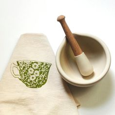 Flour Sack Dish Towel - Tea Cup printed in electric blue, arctic light blue, green, orange or red - screen printed by hand in non-toxic ink