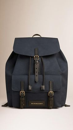 Deep navy Cotton Canvas Backpack - Image 1