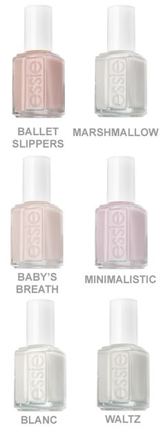 Essie nail polish: Best selection of white-ish and nude/light pink nail polish colors… perfect for your wedding day manicure! Essie nail polish: Best selection of white-ish and nude/light pink nail polish colors… perfect for your wedding day manicure! Light Pink Nail Polish, Nail Polish Colors, White Nails, Pink Polish, Essie Colors, Best White Nail Polish, Pale Nails, Neutral Nail Polish, Nail Pink