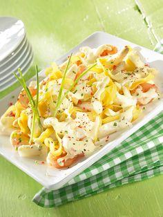 Pasta mit Spargel-Garnelen-Hollandaise -  Ein Nudelgericht mit Spargel und Garnelen