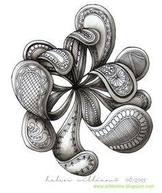 a little lime: paisley/flowers zentangle - Helen Williams Doodles Zentangles, Tangle Doodle, Tangle Art, Zentangle Drawings, Zen Doodle, Doodle Drawings, Doodle Art, Pencil Drawings, Doodle Patterns
