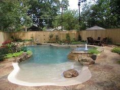 Indeed, there are lots of swimming pool ideas that may offer smart shape to save more space in the home. Therefore, it's tough to say that there's an ideal pool shape for smaller backyard. A little round pool has a… Continue Reading → Zero Entry Pool, Beach Entry Pool, Backyard Beach, Small Backyard Pools, Small Pools, Swimming Pools Backyard, Swimming Pool Designs, Outdoor Pool, Beach Pool