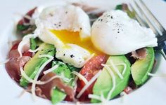 Breakfast salad with prosciutto, eggs, and avocado