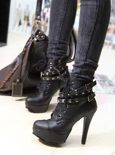 stylish rivets high heels