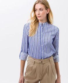 BRAX - Victoria - Blouse rayée col mao - Indigo Indigo, Victoria, Collection, Long Sleeve, Sleeves, Style, Fashion, Woman Clothing, Blouses