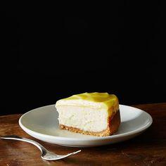 Lemon Bar Cheesecake with Vanilla Wafer Crust ; cream cheese ; ricotta ; lemon curd ; citrus ; fruit