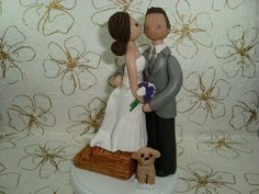 Like this minus the dog                        Custom Bride and Groom Wedding Cake Topper by mudcards on Etsy, $140.00