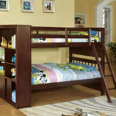 Furniture of America Hayden Espresso Twin over Twin Bookcase Bunk Bed Low Bunk Beds, Bunk Bed Sets, Futon Bunk Bed, Wooden Bunk Beds, Kids Bunk Beds, Twin Futon, Loft Beds, Bunk Beds With Drawers, Bunk Bed With Desk