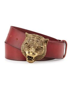 Men\'s Leather Belt with Tiger Buckle by Gucci at Neiman Marcus.