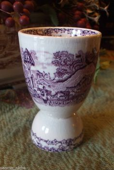 Purple Transferware English Egg Cup Rural by EnglishTransferware,