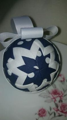 Blue and White Polka Dot Quilted Ornament, 274079510